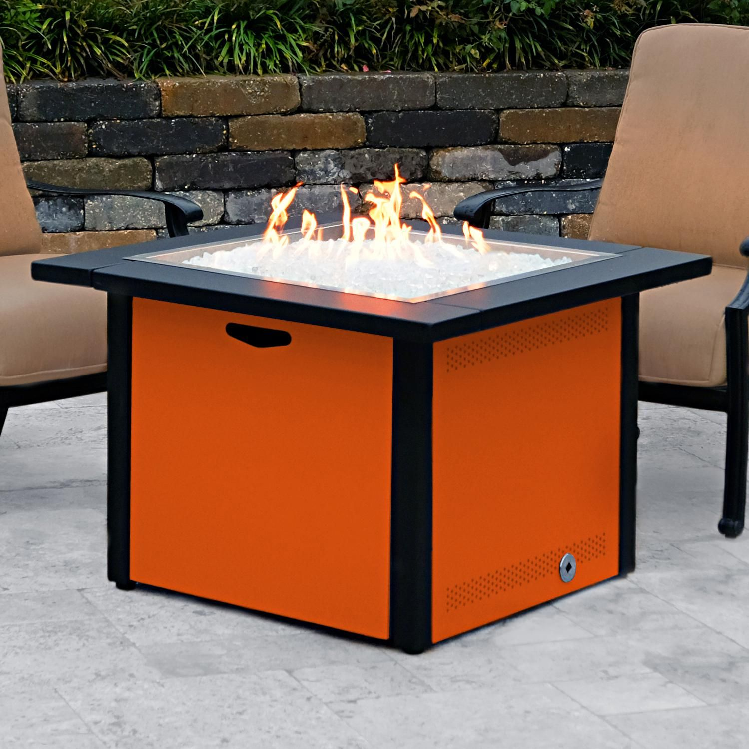 Lakeview 36 Square Propane Gas Fire Pit Table W 24 Pan And Burner Textured Orange Ch 36fp A Lp To Fire Pit Table Gas Fire Pit Table Natural Gas Fire Pit