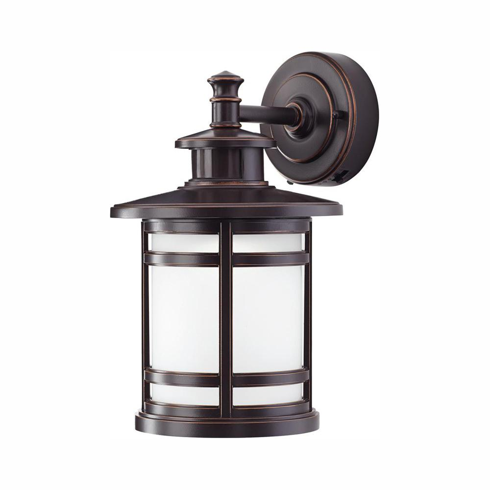 Home Decorators Collection Oil Rubbed Bronze Motion Sensor Outdoor Integrated Led Wall Lantern Sconce Jaq1691l 2 The Home Depot Wall Mount Lantern Wall Lantern Led Outdoor Wall Lights