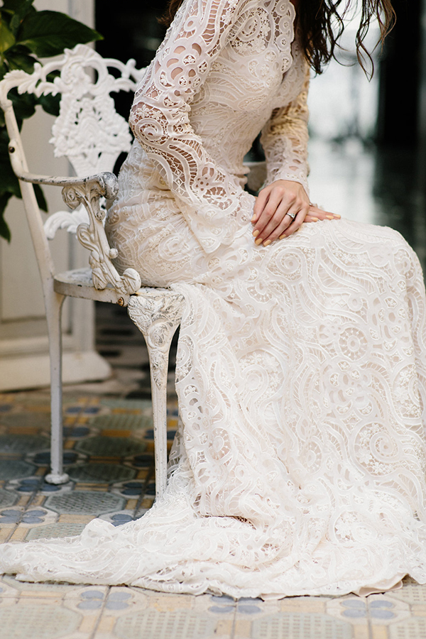 Long-sleeve lace wedding dress