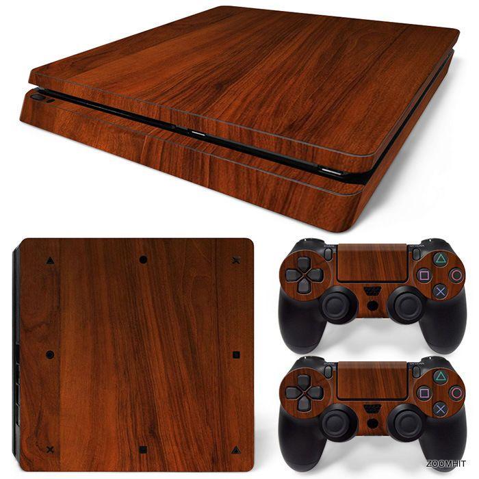Ps4 slim playstation 4 console skin decal sticker wood brown custom design set zoomhit