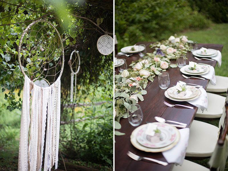 diy dreamcatchers and bohemian style wedding reception