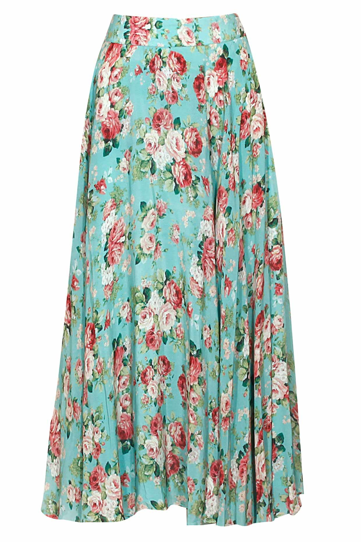 ac573598e3 Light sea green floral print pleated skirt available only at Pernia's Pop  Up Shop.