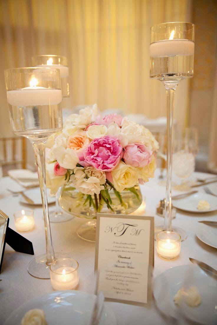 5 centros de mesa para bodas con copas de vidrio centros