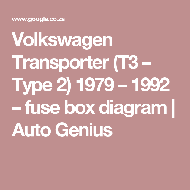 Volkswagen Transporter  T3  U2013 Type 2  1979  U2013 1992  U2013 Fuse Box Diagram