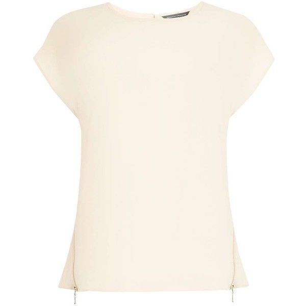 Dorothy Perkins Blush Zip Side Tee (51 CAD) ❤ liked on Polyvore featuring tops, t-shirts, blush, white tee, dorothy perkins, zip top, zipper top and white t shirt