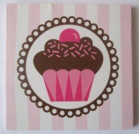 Cupcake canvas schilderij roze