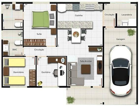 plano casa una planta 3 habitaciones - Buscar con Google | Planos ...