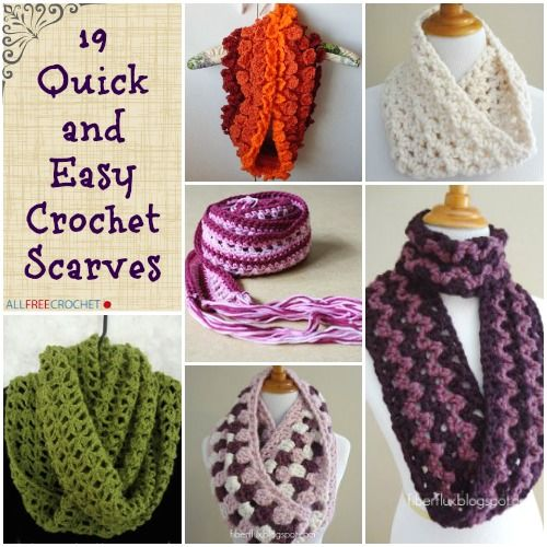 19 Quick And Easy Crochet Scarves Pinterest Easy Crochet