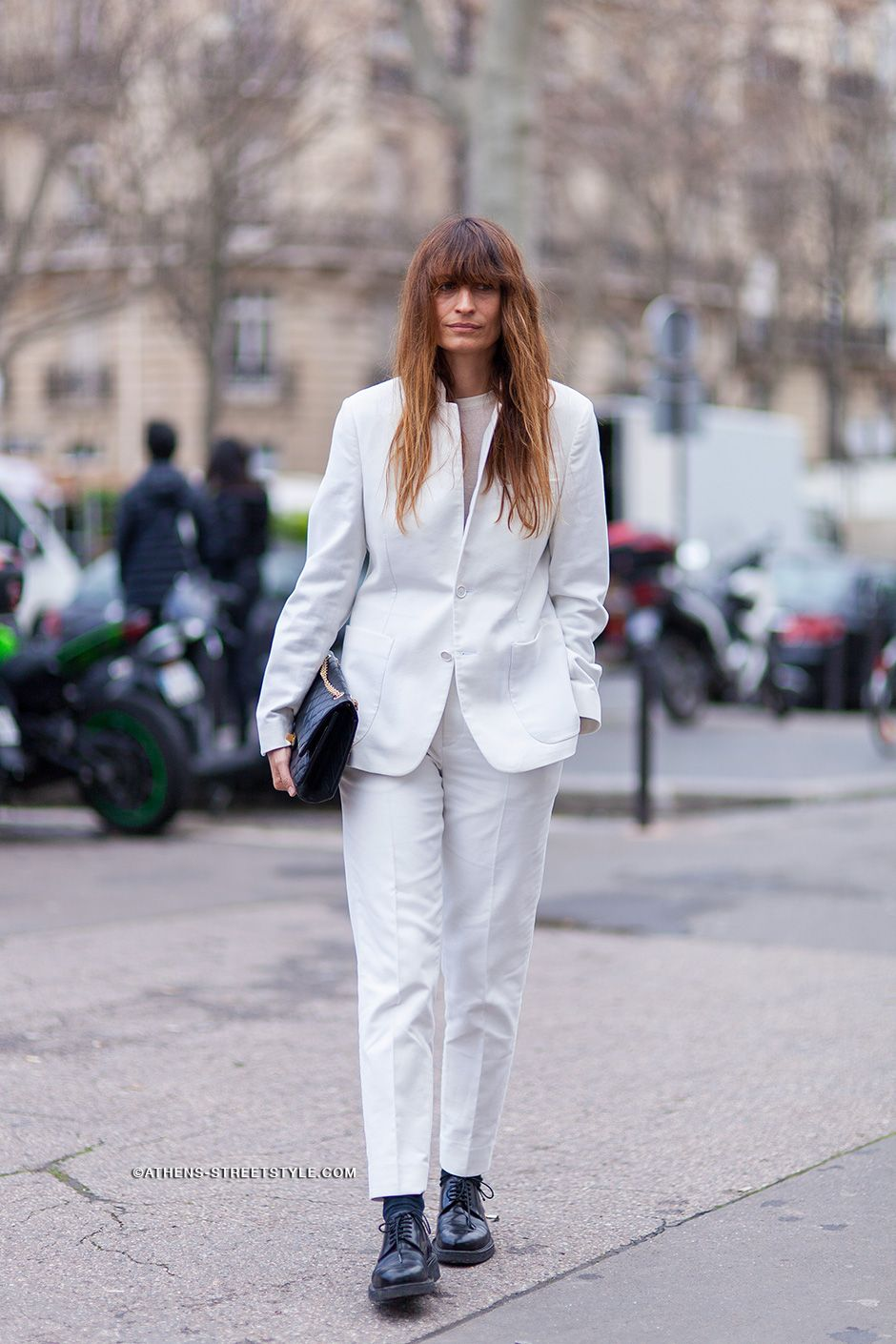 well suited in white. #CarolineDeMaigret in Paris.