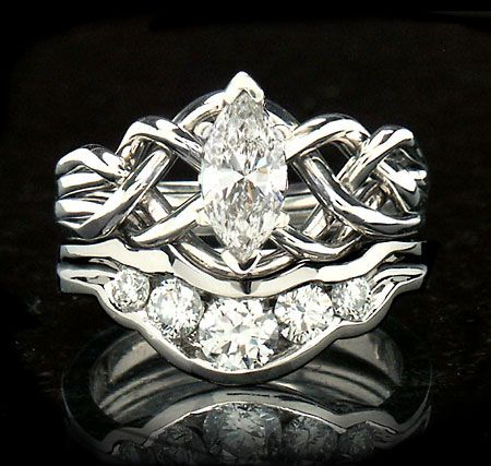 Marquise Diamond Puzzle Ring With Shadow Band