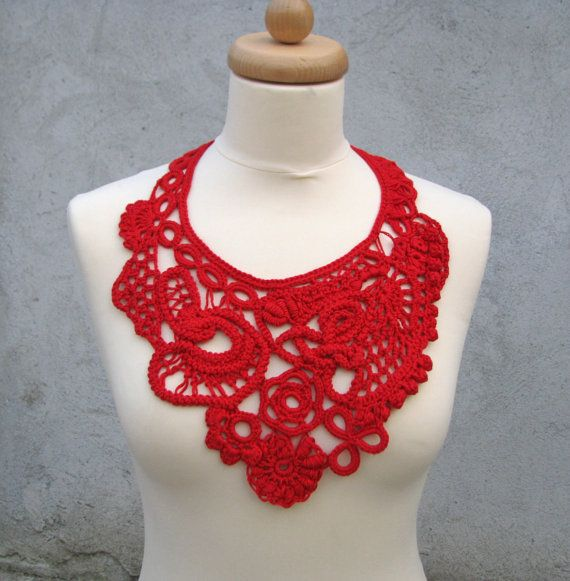 Free form crochet necklace collar by keltys on Etsy | crochet ...