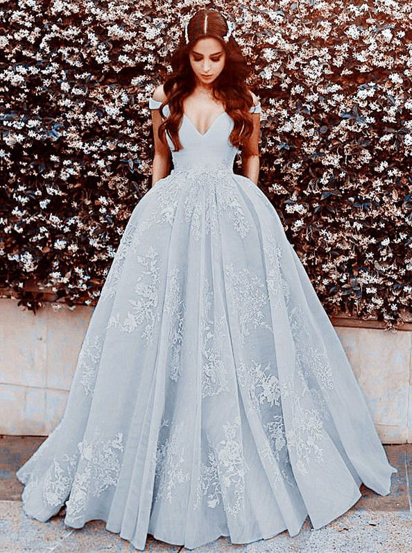 87b72ddbd9 princess style v neck off the shoulder long silver gray prom dresses 2018  formal evening gowns