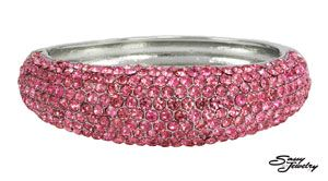 Rose/Silver Pave Front Hinged Bangle.