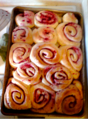 Raspberry Cream Cheese Cinnamon Rolls