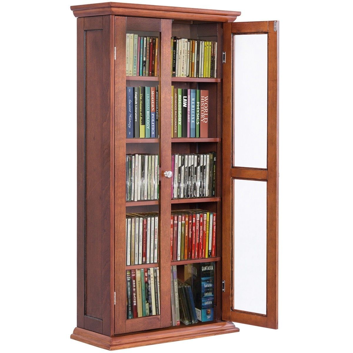 Wood Media Storage Cabinet Cd Shelves With Tower Glass Doors Wood