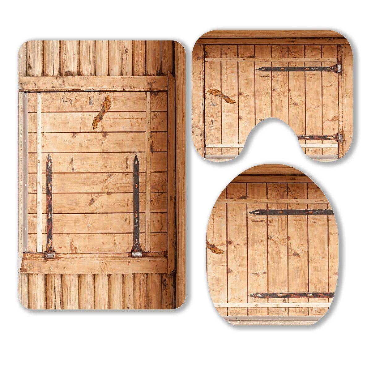 Wooden Brown Door In Rustic 3 Piece Bathroom Rugs Set Bath Rug Contour Mat And Toilet Lid Cover In 2020 Bathroom Rug Sets Brown Doors Rustic