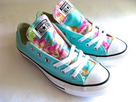 Pink and mint blue green size 9 converse all star womens shoes pink peony  peonies floral tongue hawaiian edition chuck taylor e632cdc2d