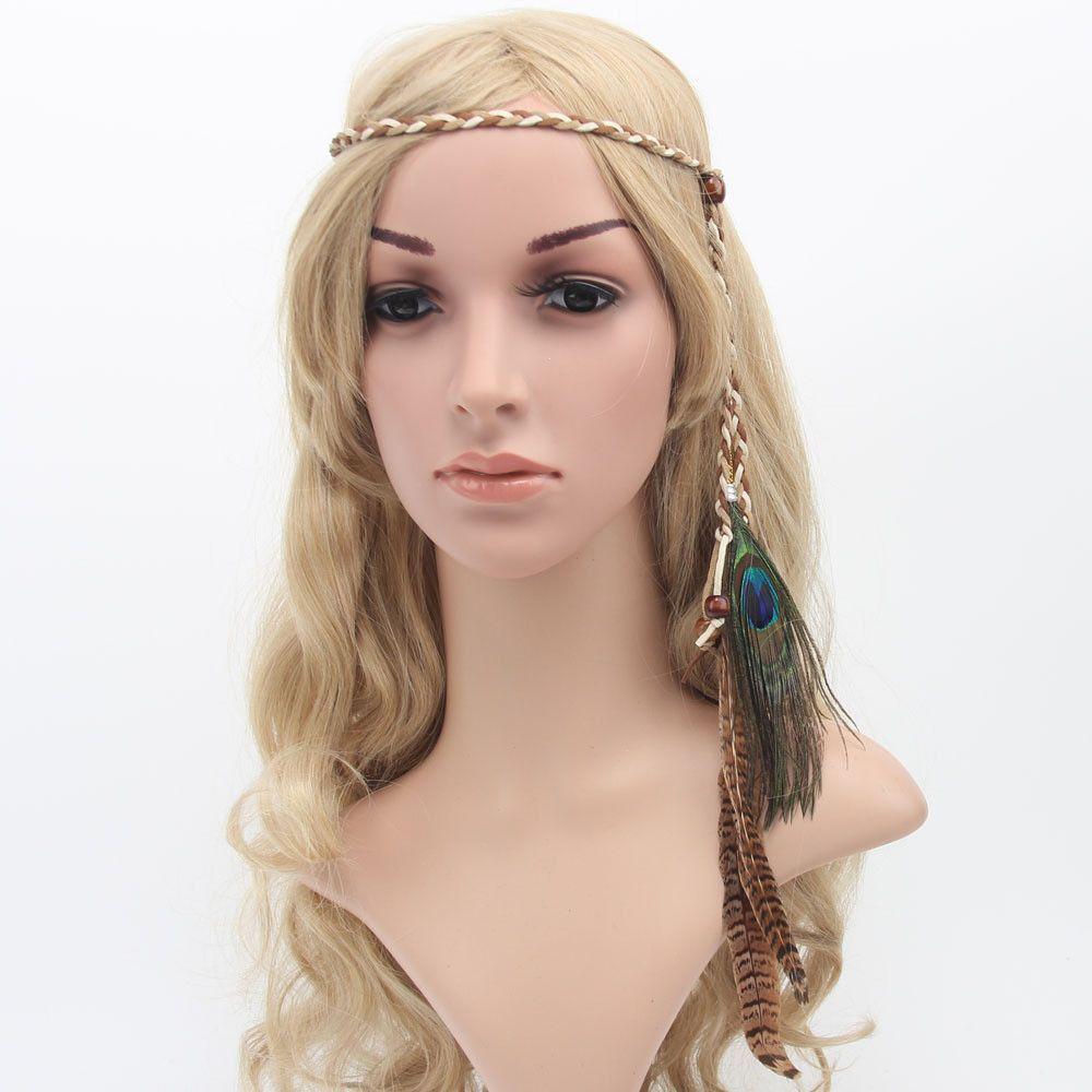 Bohemian peacock feather braided headband hair head bands beach