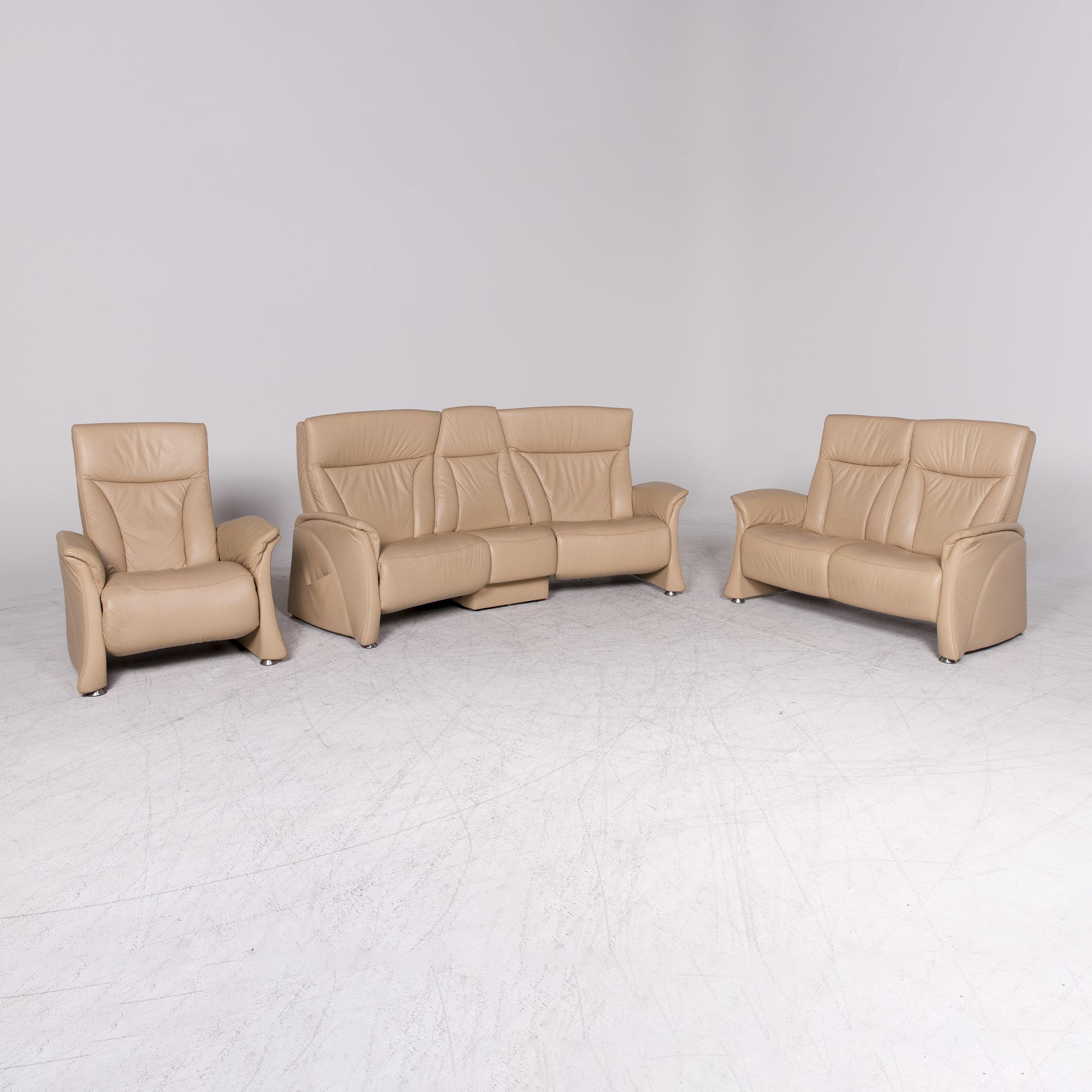 Himolla Designer Leather Sofa Armchair Set Beige Genuine Leather