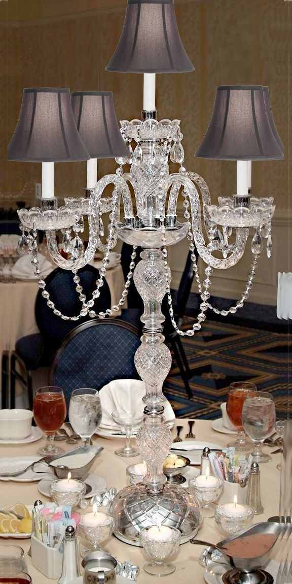 G46 Sc 536 5 Set Of Gallery Candelabras Centerpieces Crystal Candelabra Centerpiece With Shades