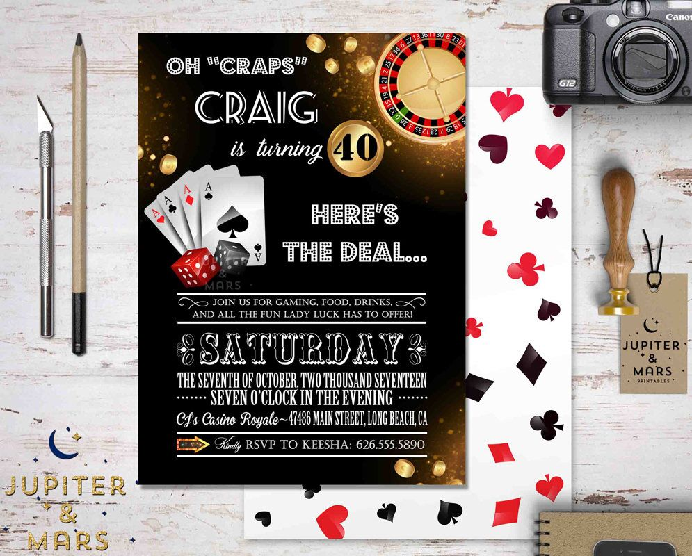 Casino Night Invitation, Poker Night Invitation, Casino Night Party ...