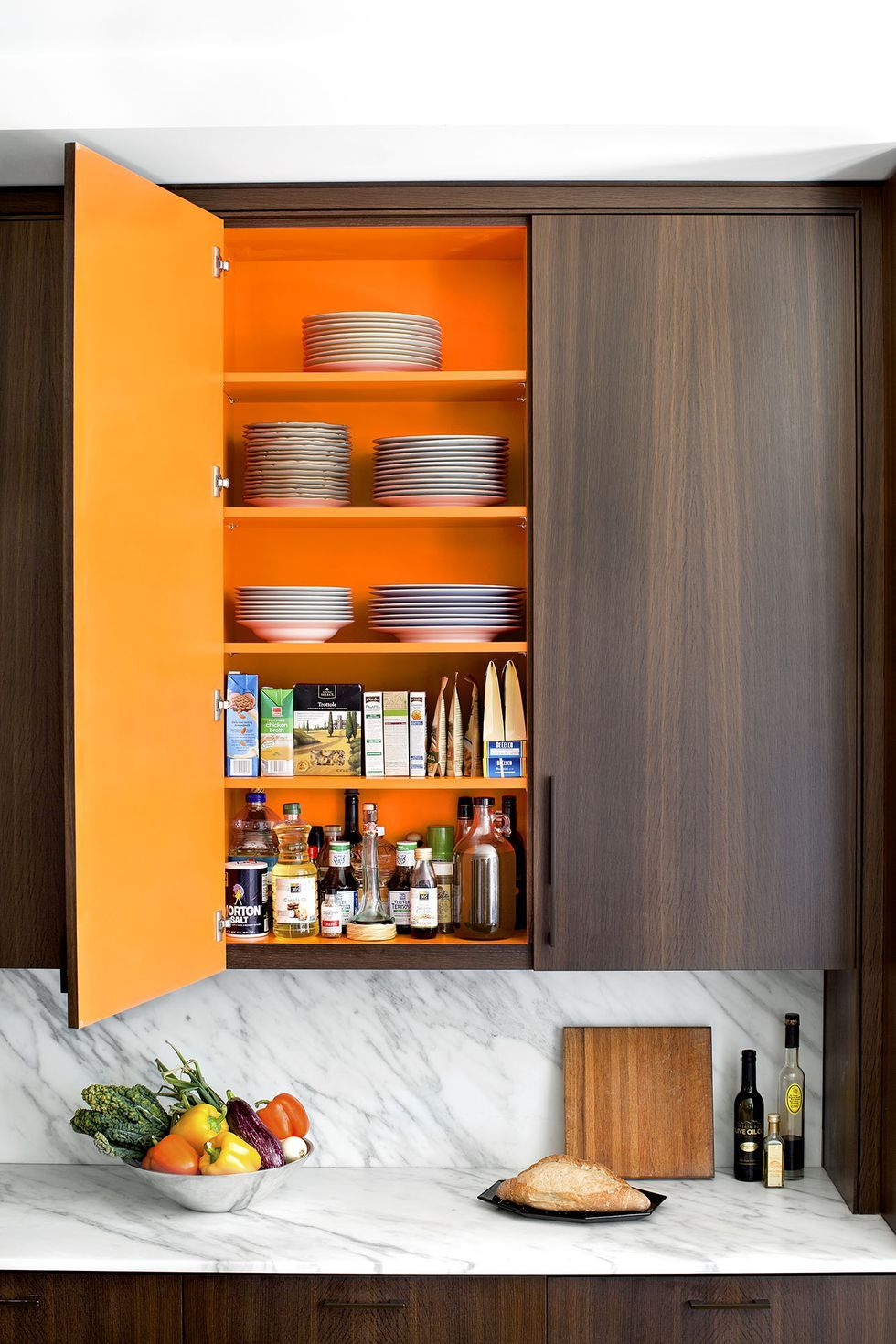 7 Seriously Gorgeous Paint Colors Nobody Thinks Of Using Kitchen Cabinets Orange Paint Inside Cabinets Inside Kitchen Cabinets