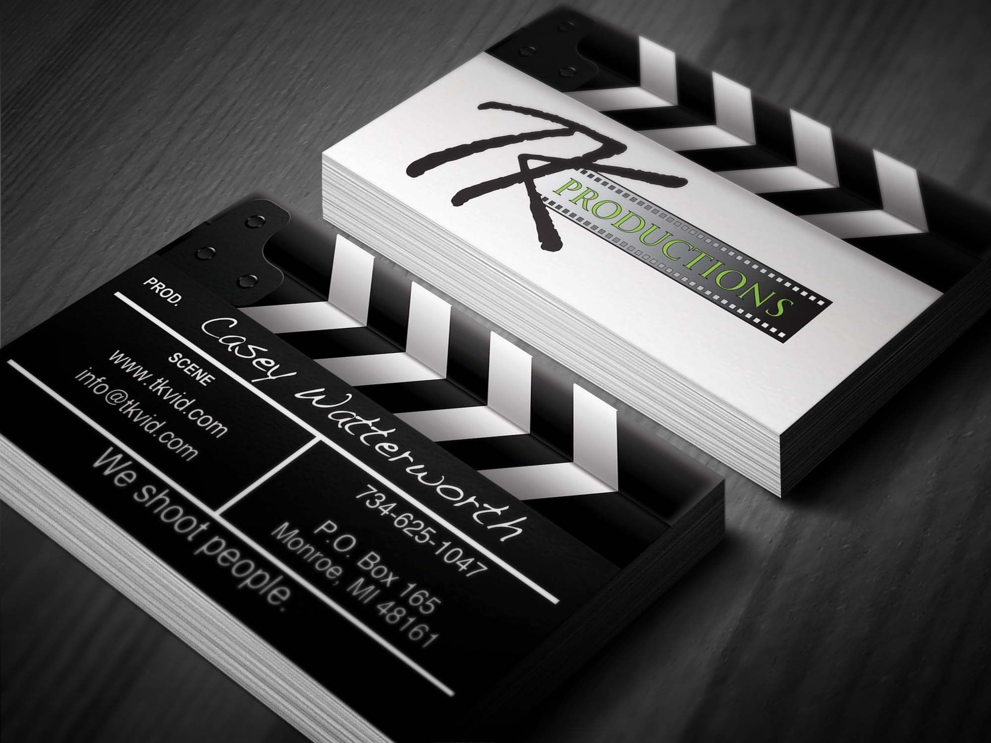 Business card we designed for a local videographer and for Video production business cards