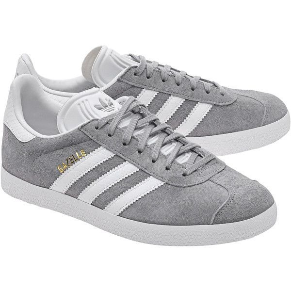 sale retailer f3b40 7072a ADIDAS ORIGINALS Gazelle Mid Grey    Flat suede sneakers ( 105) ❤ liked on Polyvore  featuring shoes, sneakers, grey suede sneakers, gray shoes, ...