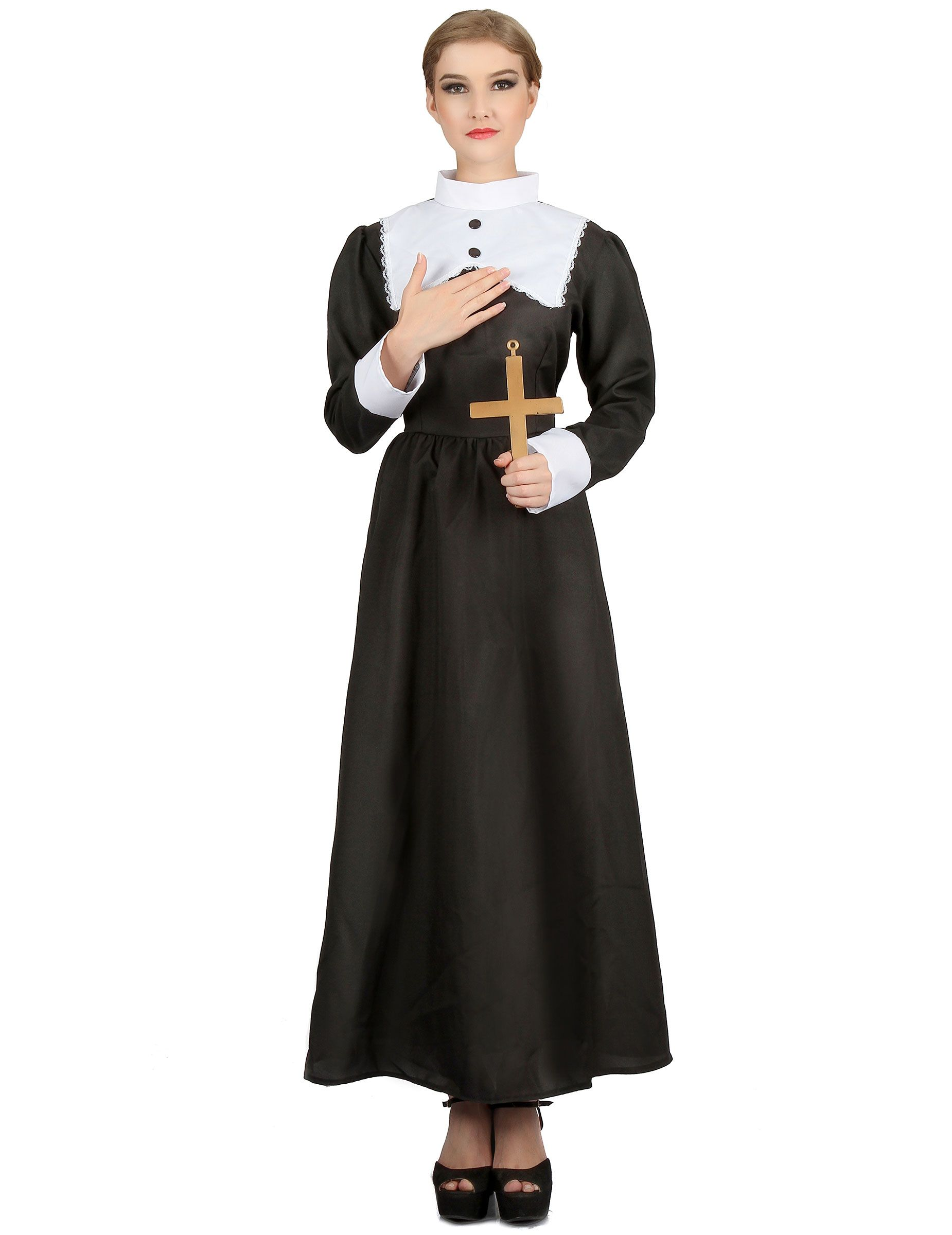 Costume da Suora per donna  Questo travestimento da suora per donna é  composto da un f4a6bb9cc133