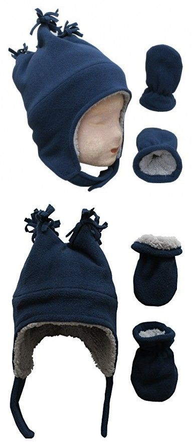 c20a83bb4a1 N Ice Caps Little Boys and Baby Sherpa Lined Fleece Winter Hat and Mitten  Set