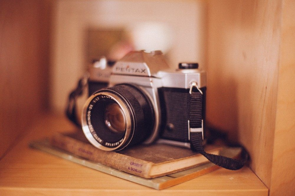 Free Stock Photos Old Vintage Camera Books Shelf Case Tan Brown