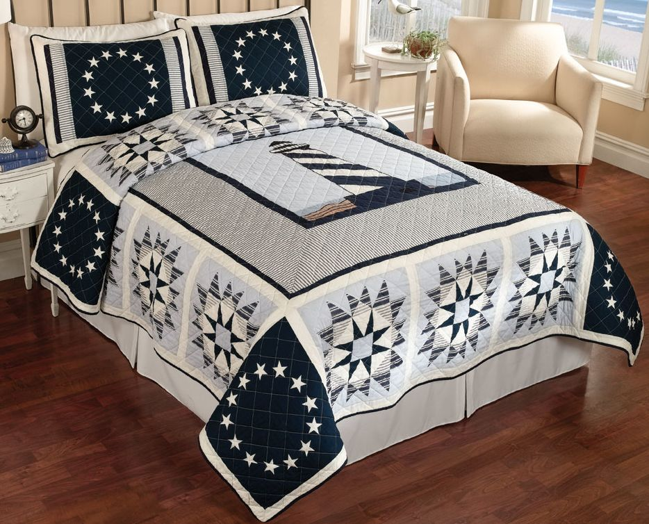 Anchor Quilts Nautical Theme Quilts Httpwwwopulenthomedecorcomquiltlighthouse