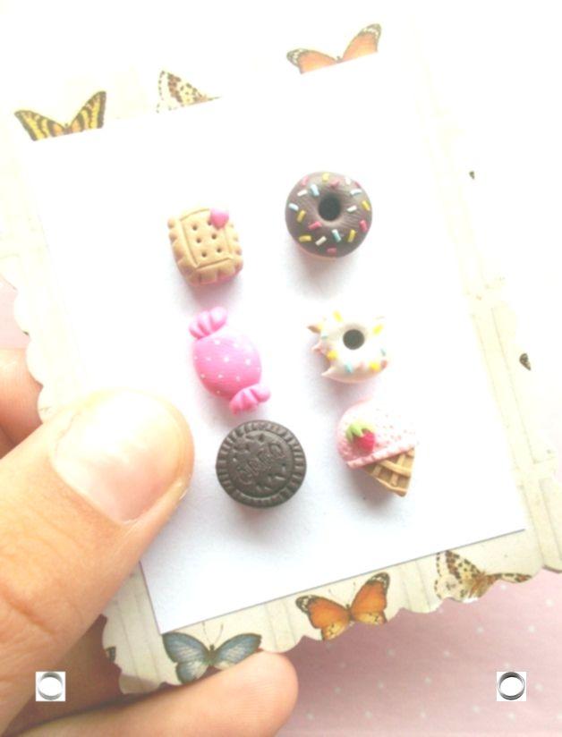 Süße Miniatur Ohrringe aus Polymer: Donut, Bonbon, Oreo Keks / sweet stud earr...,