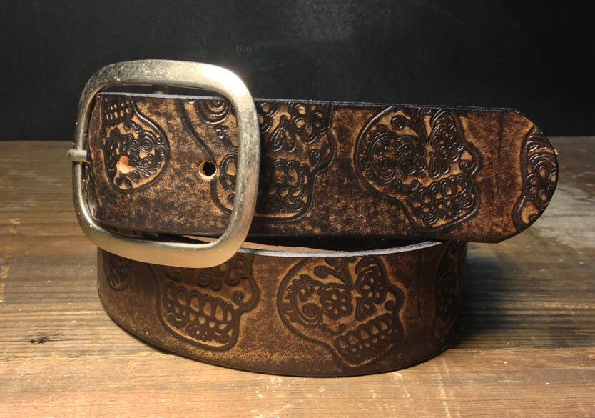 Sugar Skull Vintage Distressed Aged Leather Snap Belt – Embossed Full Grain – Handmade in USA Wedding Day of the Dead Dia De Los Muertos