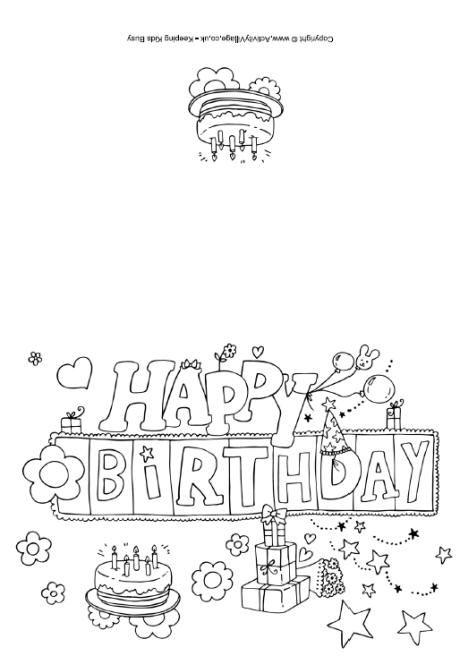 happy birthday colouring card - Printable Coloring Birthday Cards
