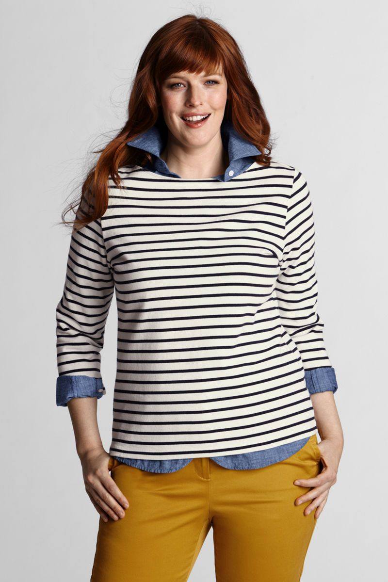 f18fa32483b5d Women s 3 4-sleeve Boatneck Sailor Tee from Lands  End