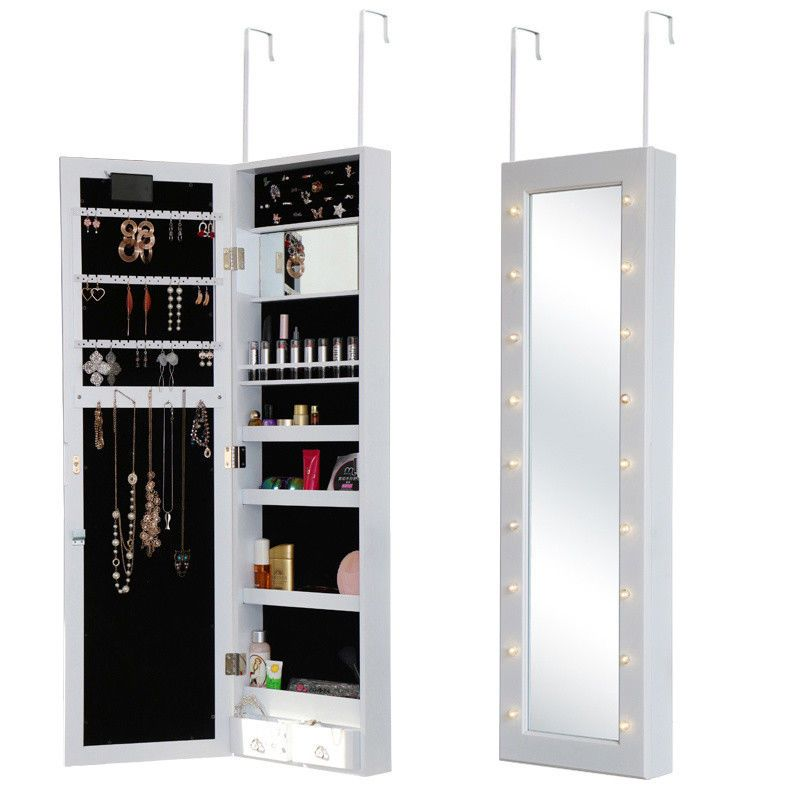 In Addition It Can Be Hung Over The Door Or Wall Mounted Only Takes Up Little Space Full Length Mirr Jewelry Cabinet Mirror Jewellery Cabinet Jewelry Mirror