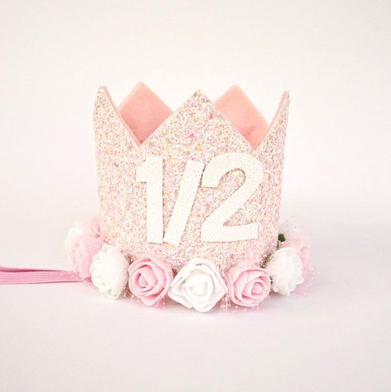 1 2 Birthday Crown Half Outfit Girl Glitter Hat 6 Mont