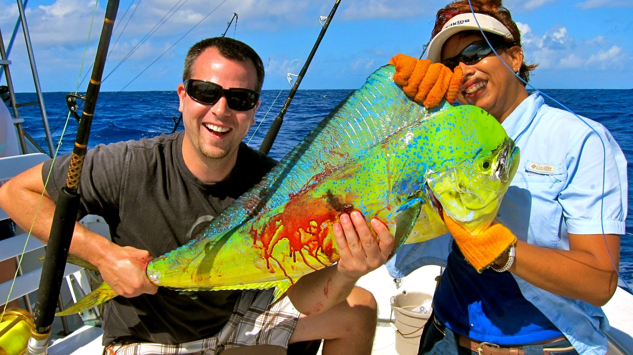 Kevin and his beautiful mahi fishing with panoply sport for Turks and caicos fishing charters