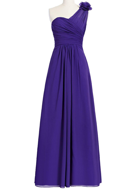 New oneshoulder purple long bridesmaid dresses plus size