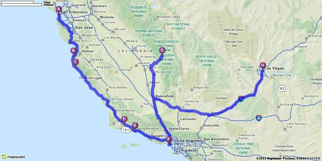 Driving Directions from San Francisco, California to Las Vegas ...