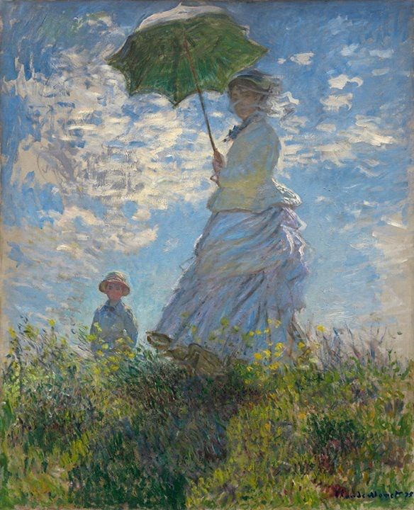 Woman with parasol - Madame Monet and her son Claude Monet