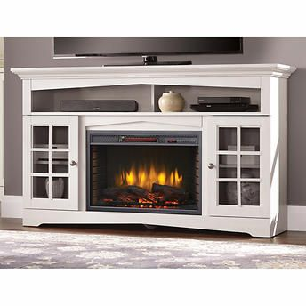 White Media Electric Fireplace
