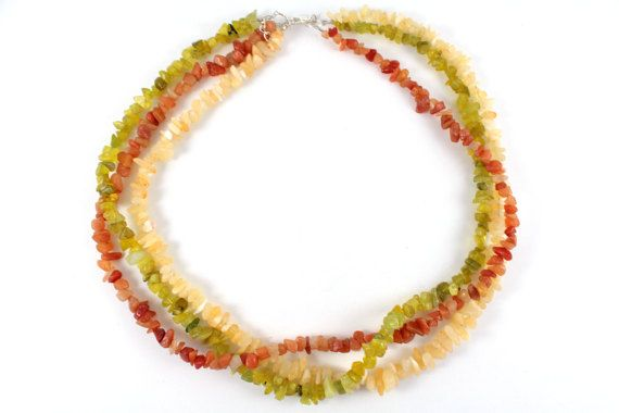 Citrus Twist  Multiple Genuine Precious Gemstone Bib by VerdeBirdi