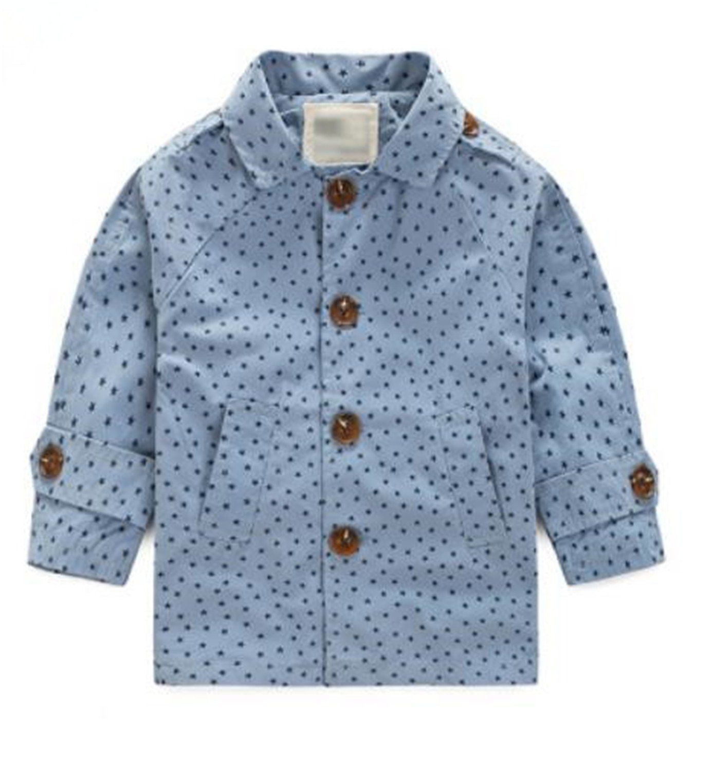 Almarms Autumn Autumn Stars Printed Casual Boys Trench Kids