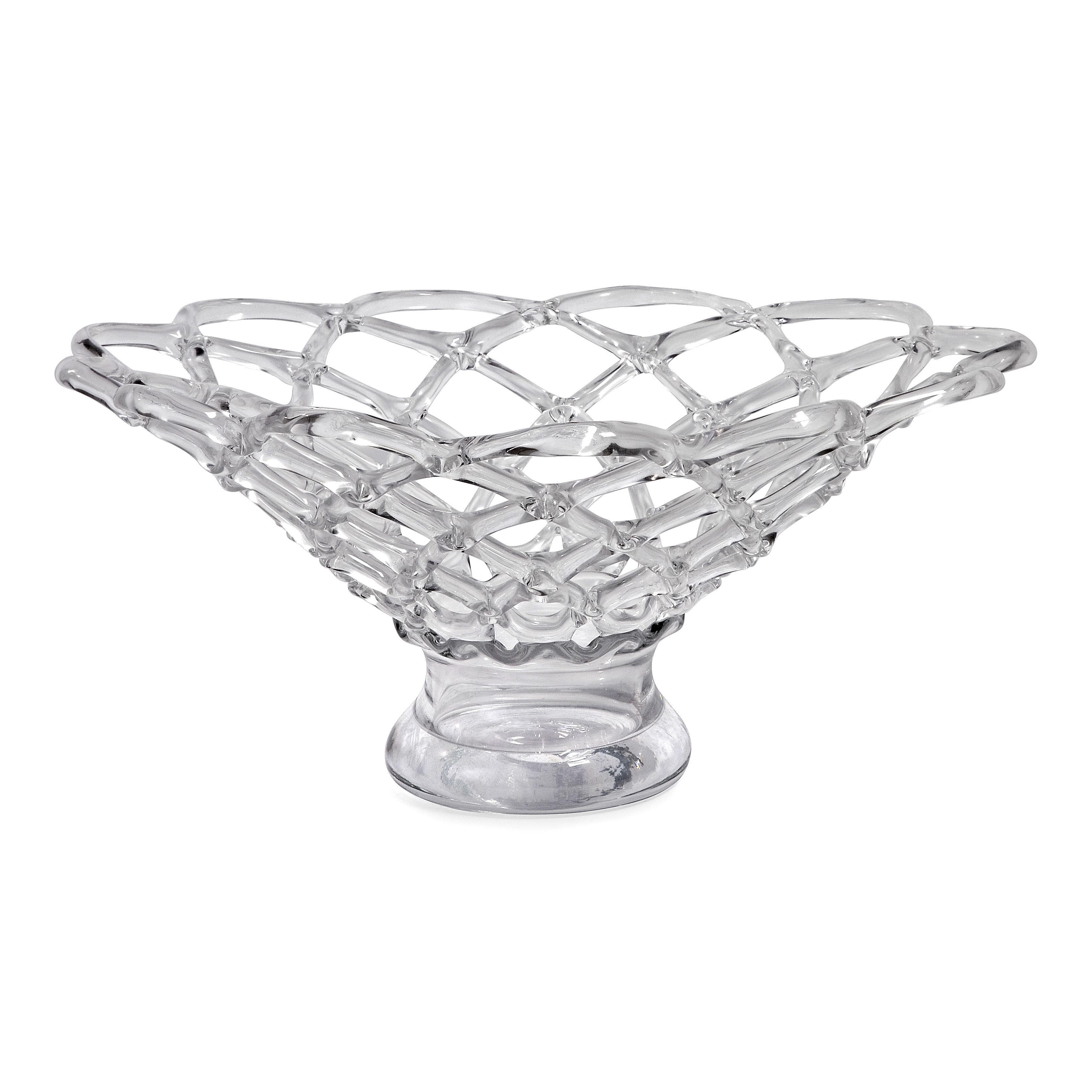 Imax Large Glass Web Bowl, Silver