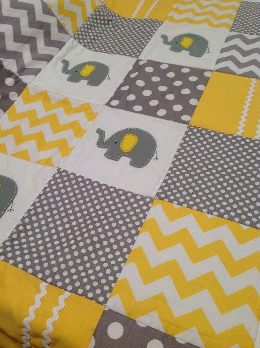 Elephant Baby Quilt In Yellow And Grey Alphabet Monkey