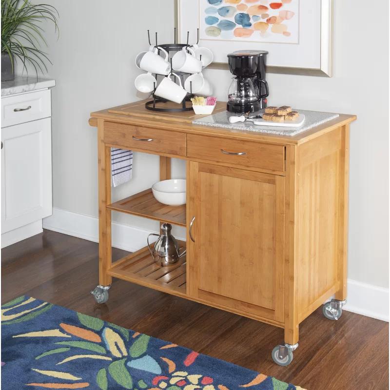 Rafferty Kitchen Cart With Granite Top Reviews Birch Lane With Images Kitchen Cart Kitchen Island Cart Kitchen Tops Granite