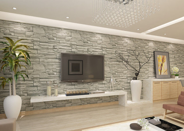Feature 3d Fake Wall Stone Effect Wallpaper Decorating Ideas Fake Walls Wallpaper Decor Home Deco