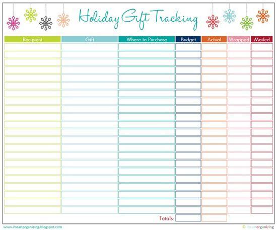 Iheart Organizing Free Printables Christmas Organization Gift Tracker Christmas Gift List